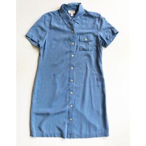 Vintage Talbots Chambray Button Up Shirt Dress 12